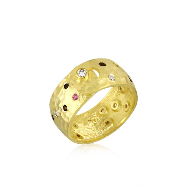 Danny 8K Hammered Gold Jeweled Band