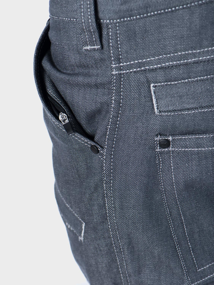 Protective motorcycle riding jeans with stretch by ZIN Motowear. Model A537. Rear air vent.