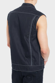 B56 Denim Motorcycle Vest with the World's Strongest Denim - Black Wax