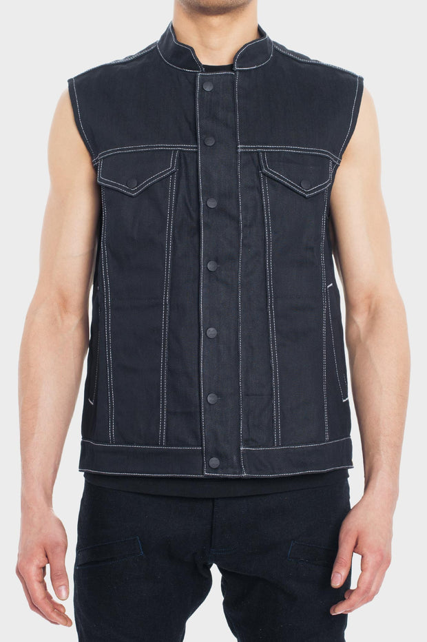 B56 - Abrasion-Resistant Vest with Ultra Strong Denim - Black Wax