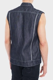 B56 Denim Motorcycle Vest with the World's Strongest Denim - Navy