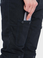 Protective motorcycle riding jeans with stretch with Dyneema® by ZIN Motowear. Model R66. Phone pocket.
