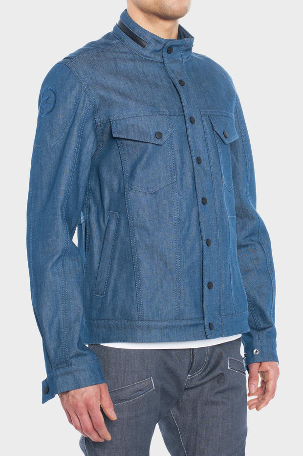 SS163 Stretch Denim Motorcycle Jacket - Aqua