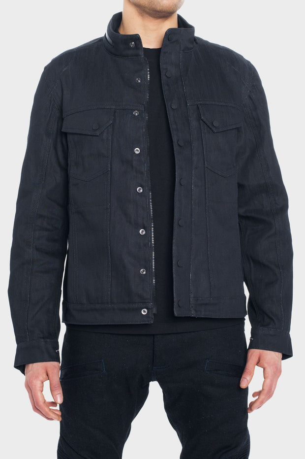 SS163 - Abrasion-Resistant Jacket with Ultra Strong Denim - Black Wax