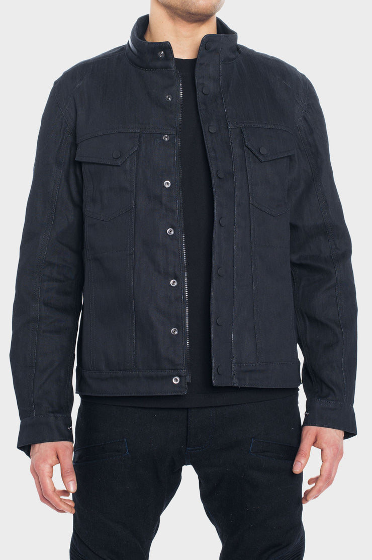 SS163 Denim Motorcycle Jacket with the World's Strongest Denim - Black Wax