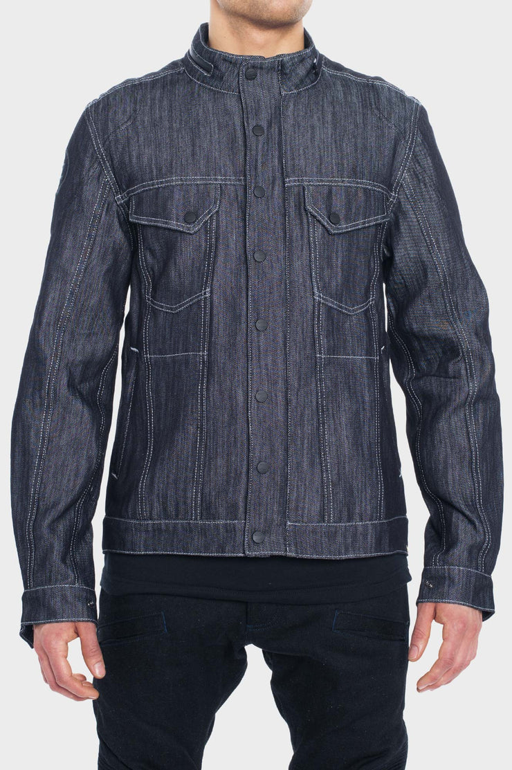 SS163 Denim Motorcycle Jacket with the World's Strongest Denim - Navy