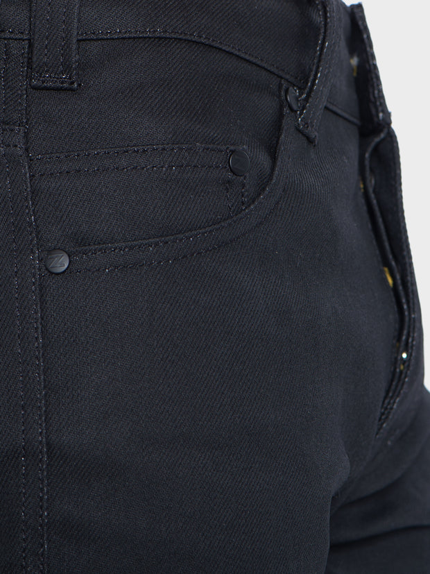 D618 - Abrasion-Resistant Stretch Denim Jeans - Black