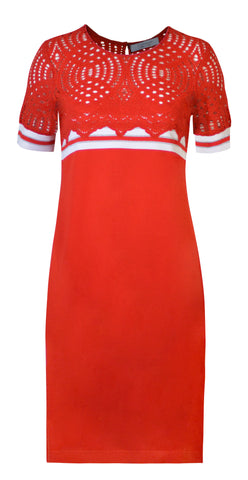 Lace top dress with stripe detail- Red