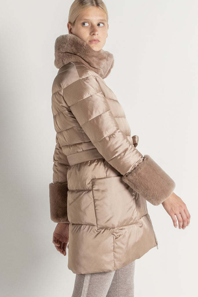 Golden Puffa Coat with Fur trim