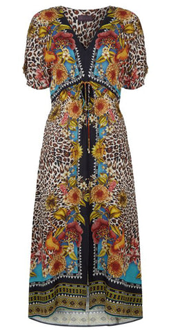 String waist animal print dress