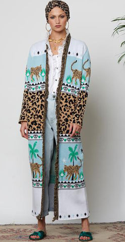 Leopardess Duster - Ice Blue