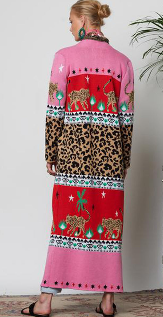 Leopardess Duster - Red/ Pink