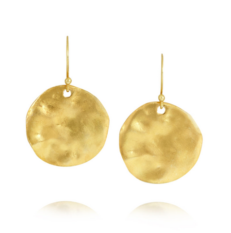 'Marissa' Large Hammered Yellow Gold Disc Earring