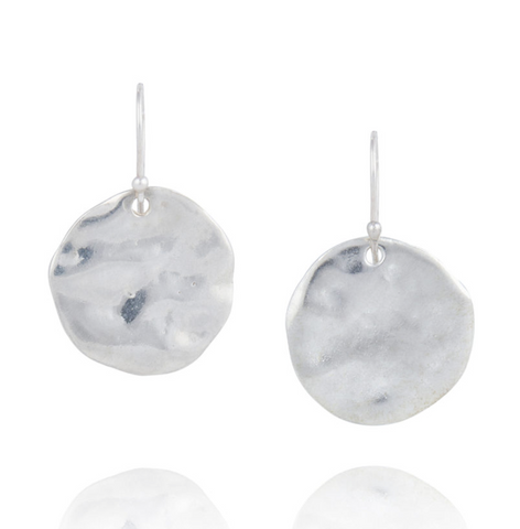 'Marissa' Large Hammered Silver Disc Earring