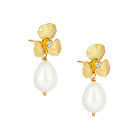 Yellow Gold Summer Pearl Clover Earrings