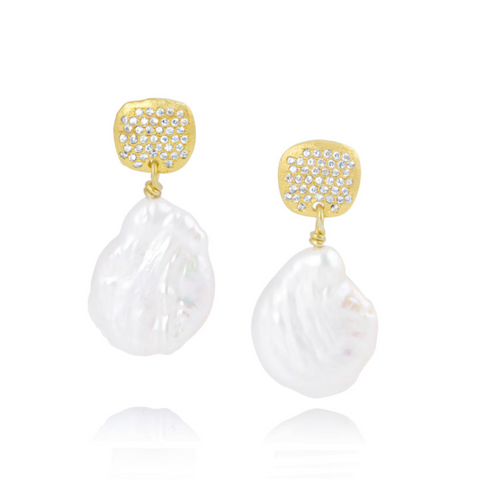 Yellow Gold Pave Pearl Drop Earrings
