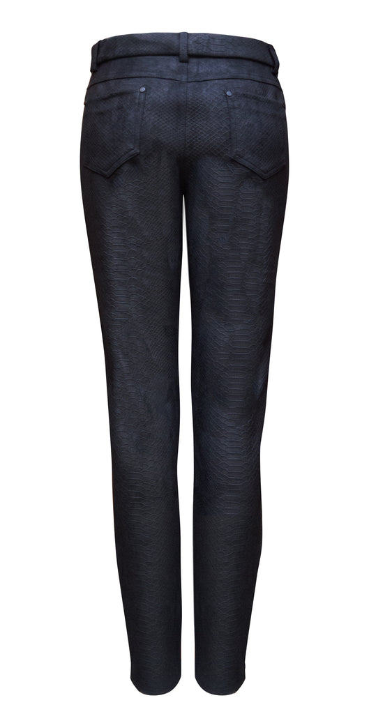 Embossed snake suedette trousers - black
