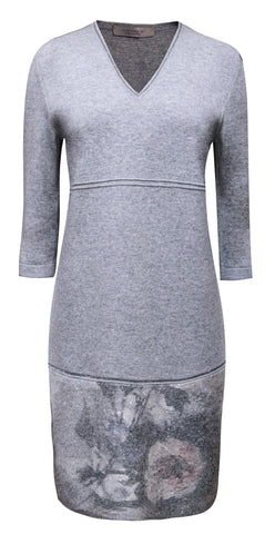 Grey flower detail dress