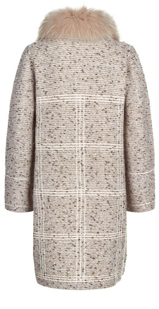 Fur collar sequin boucle coat