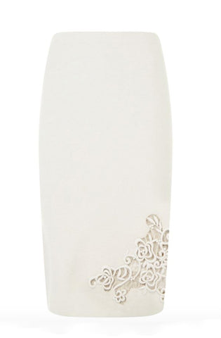 Skirt with lace detail, available in beige or grey