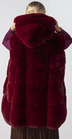 Faux Fur Hooded Gilet - Bordeaux