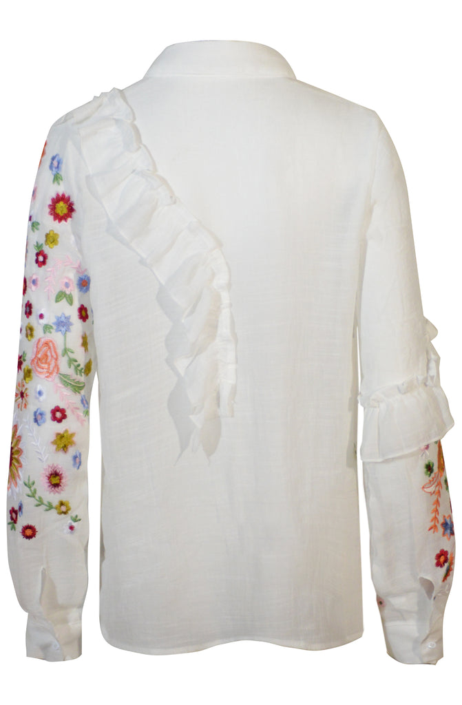 Frill and Embroidery Detail Shirt