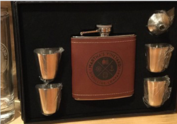 Leather Wrapped Stainless Steel Flask Gift Set