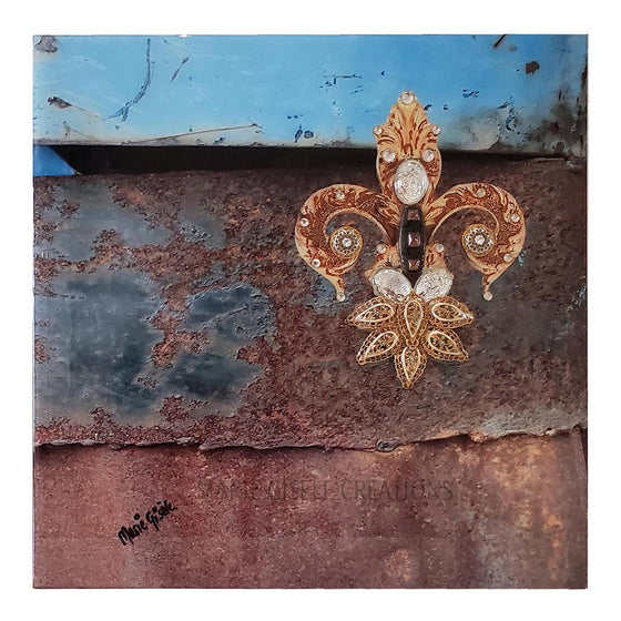 Fleur-de-Lis Rust And Blue Wall