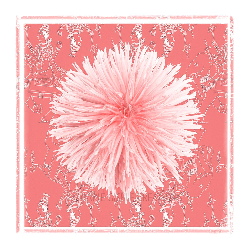 Peach Flower on Exotic Fabric