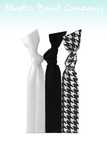 Houndstooth B&W Hair Tie 3 Pack - Elastic Band Co.