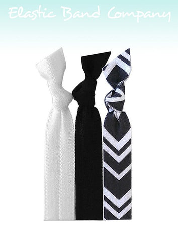 Chevron B&W Hair Tie 3 Pack - Elastic Band Co.