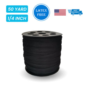 "1/4"" Elastic Black - 50 yards"