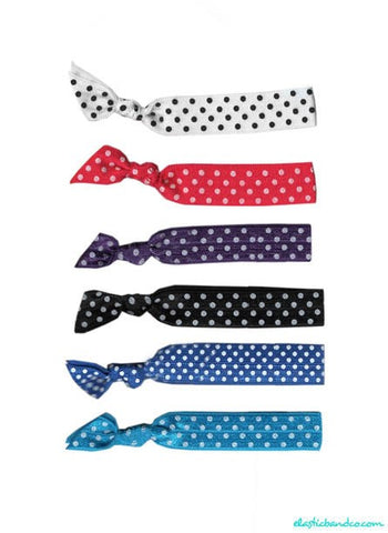 Polka Dot Hair Tie 6 Pack - Elastic Band Co.