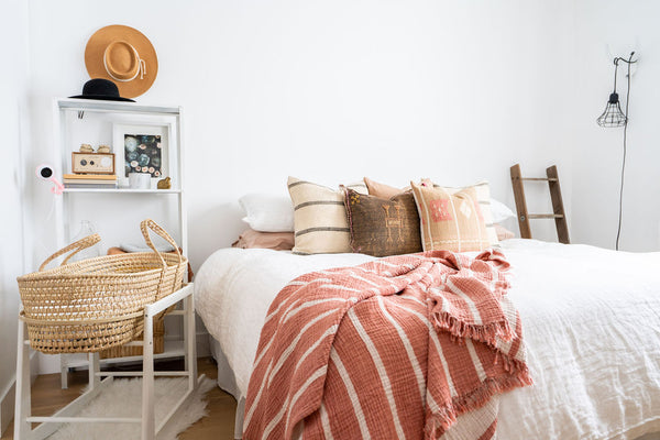 master bedroom with boho feel