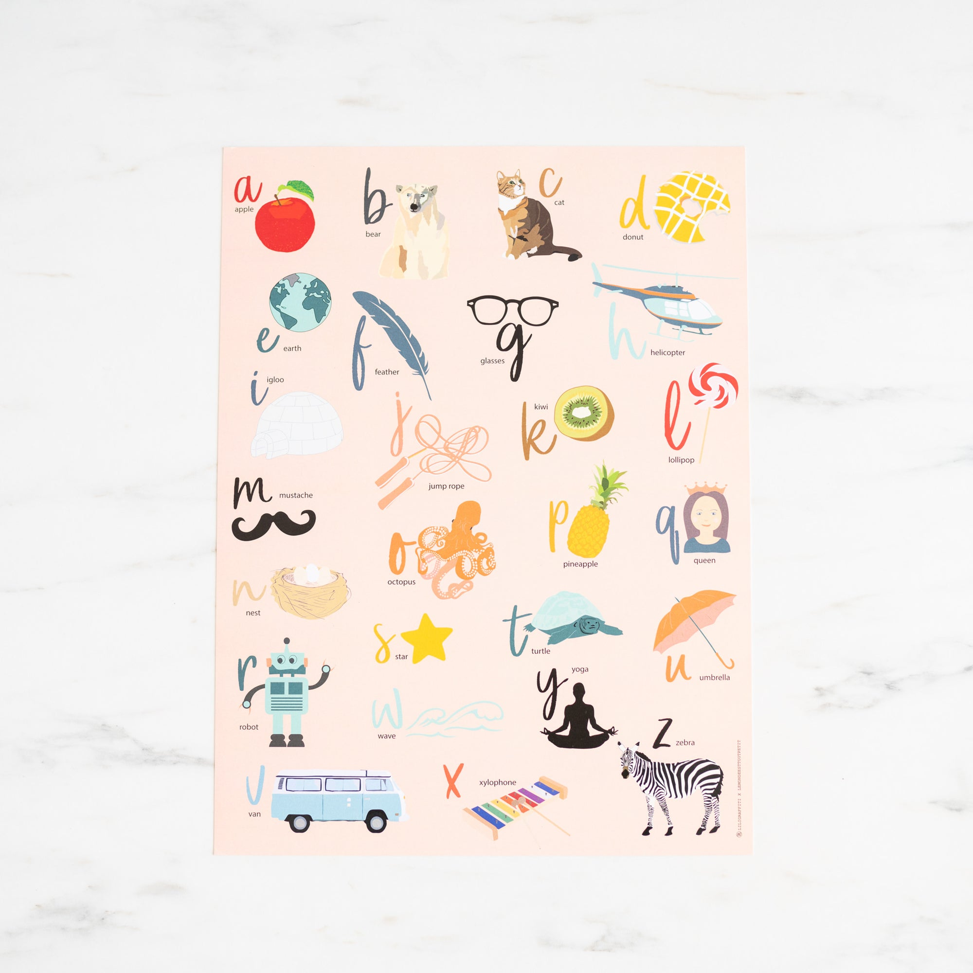 Pink ABCs Art Print by Lili graffiti x LMTP