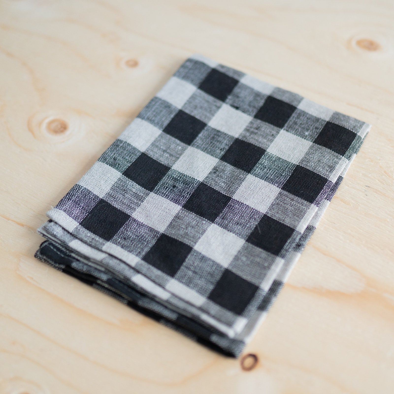 Natural Check Linen Kitchen Cloth - Rug & Weave