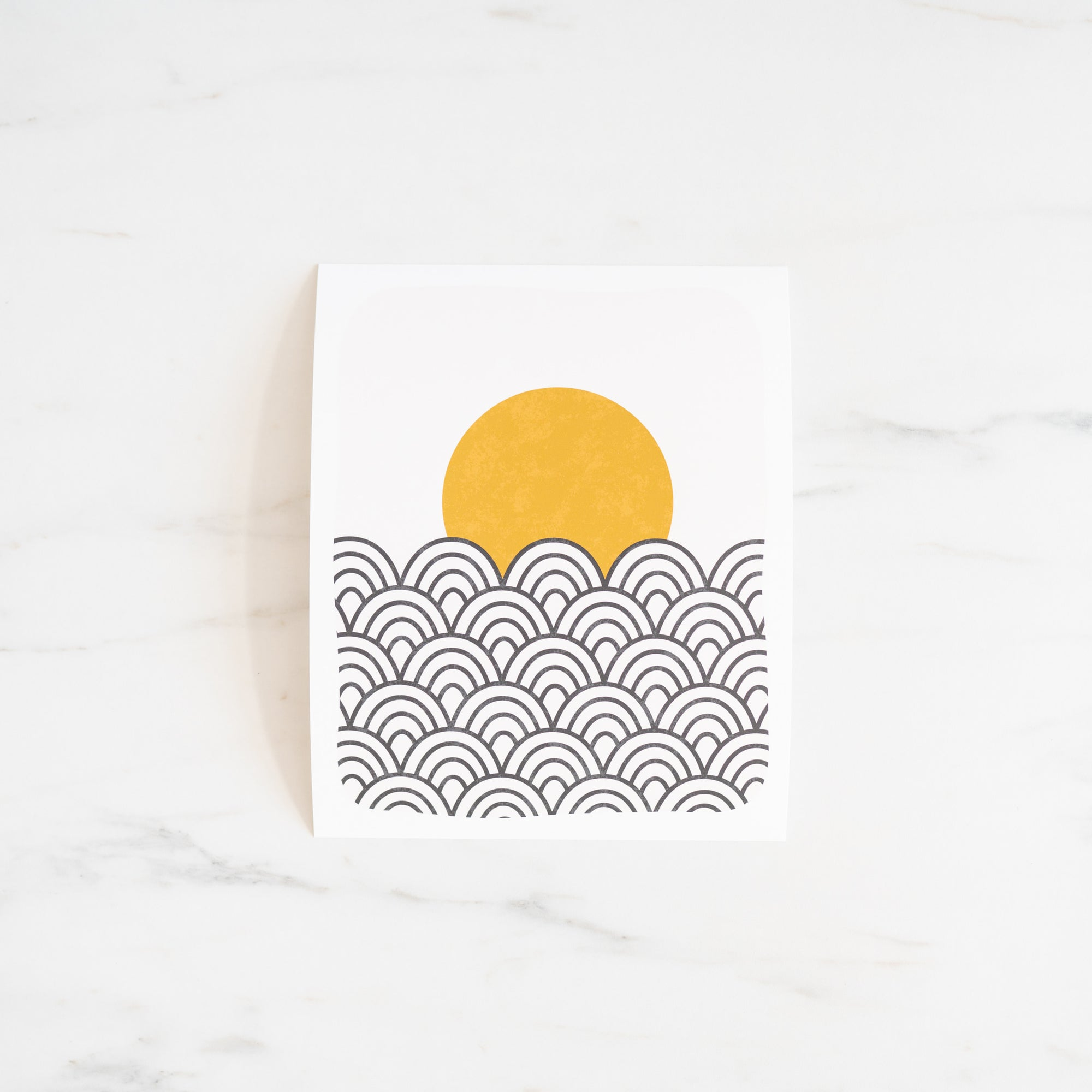 Black, Peach & Ochre Sun Waves Art Print