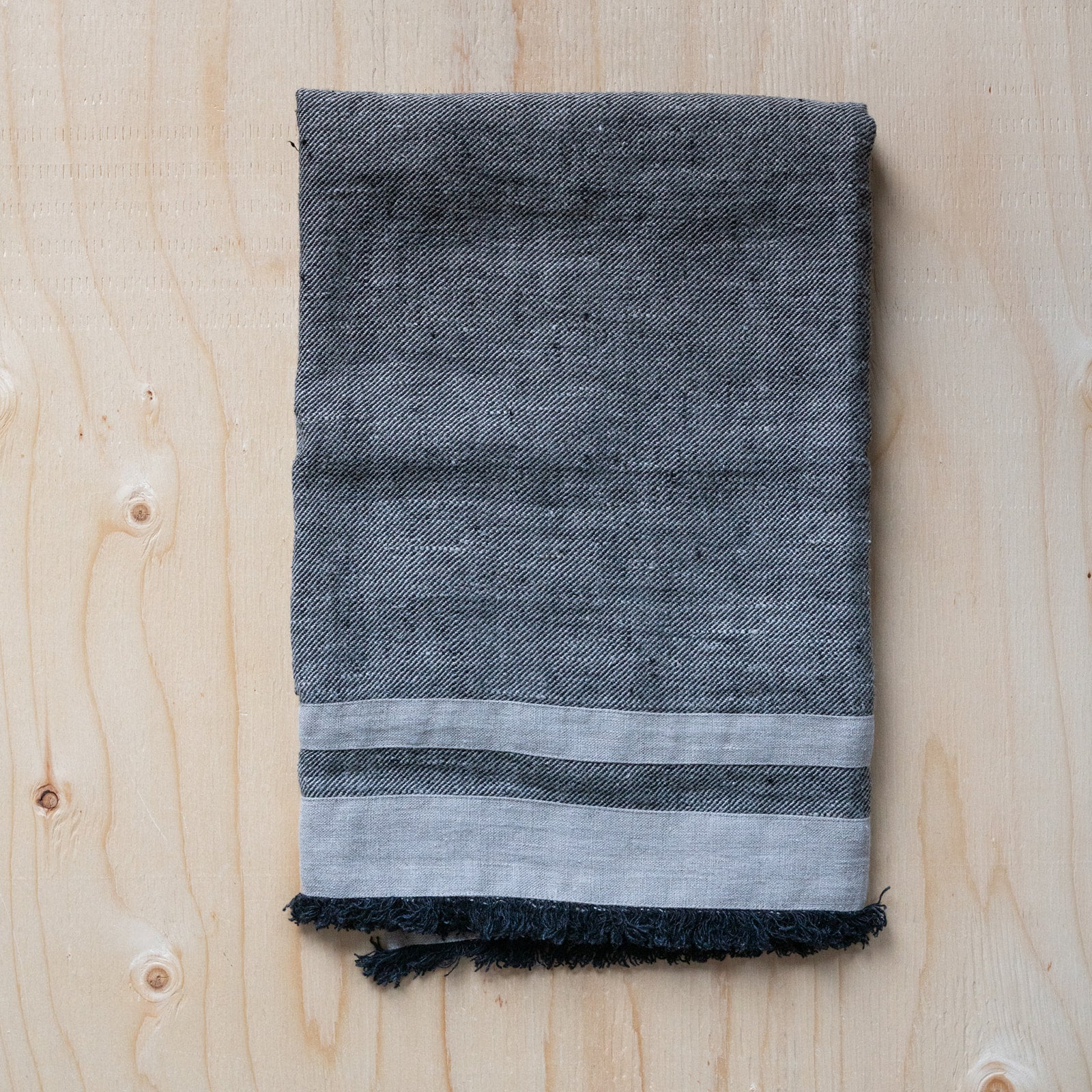 Charcoal Linen Bath Towel - Rug & Weave