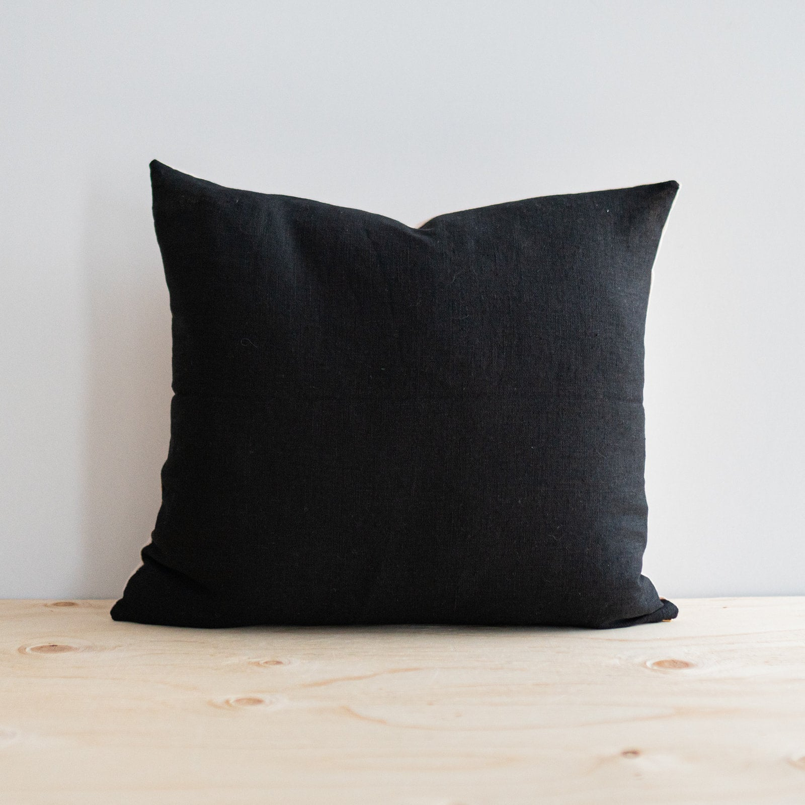 Black Linen Pillow - Rug & Weave