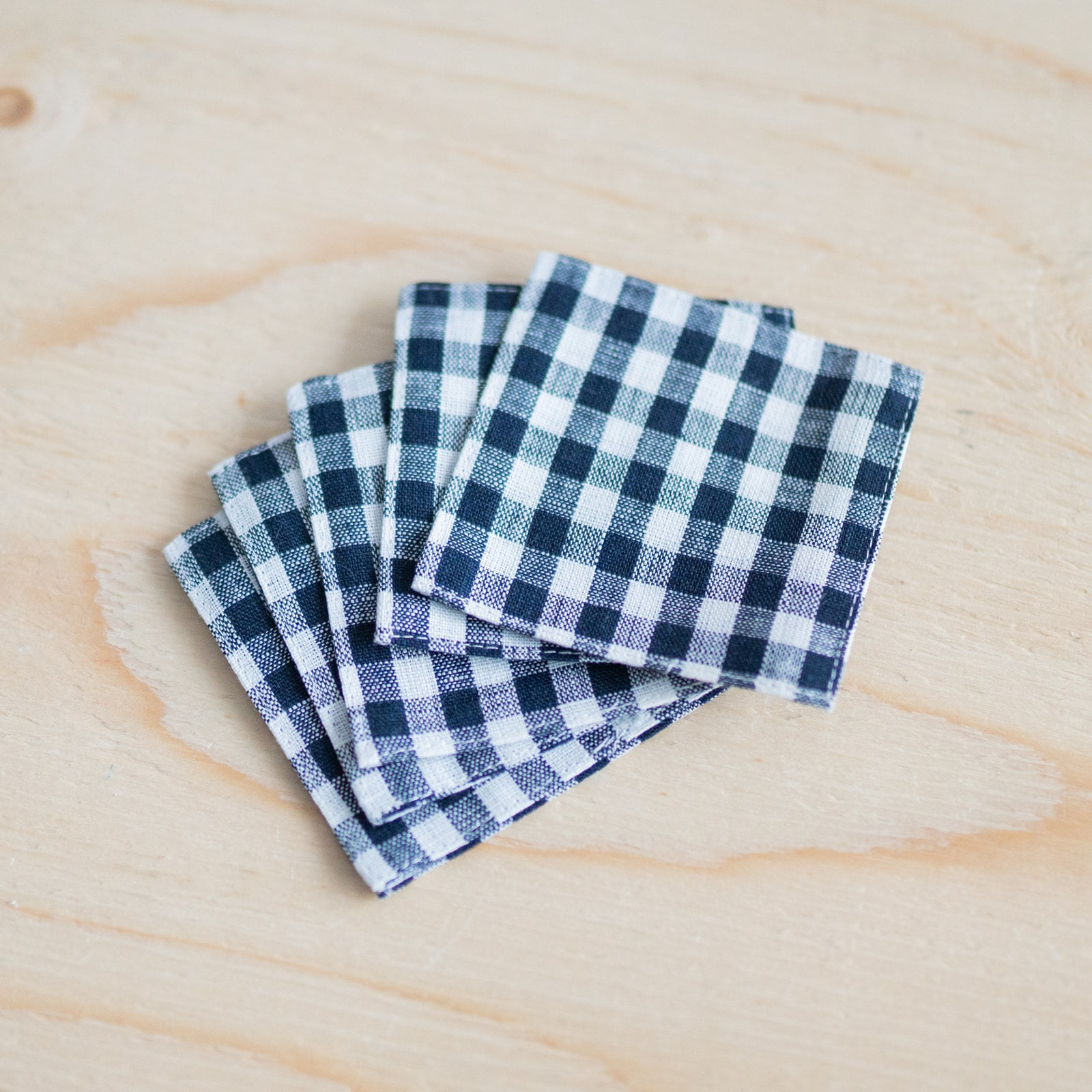 Navy Check Linen Coasters Set