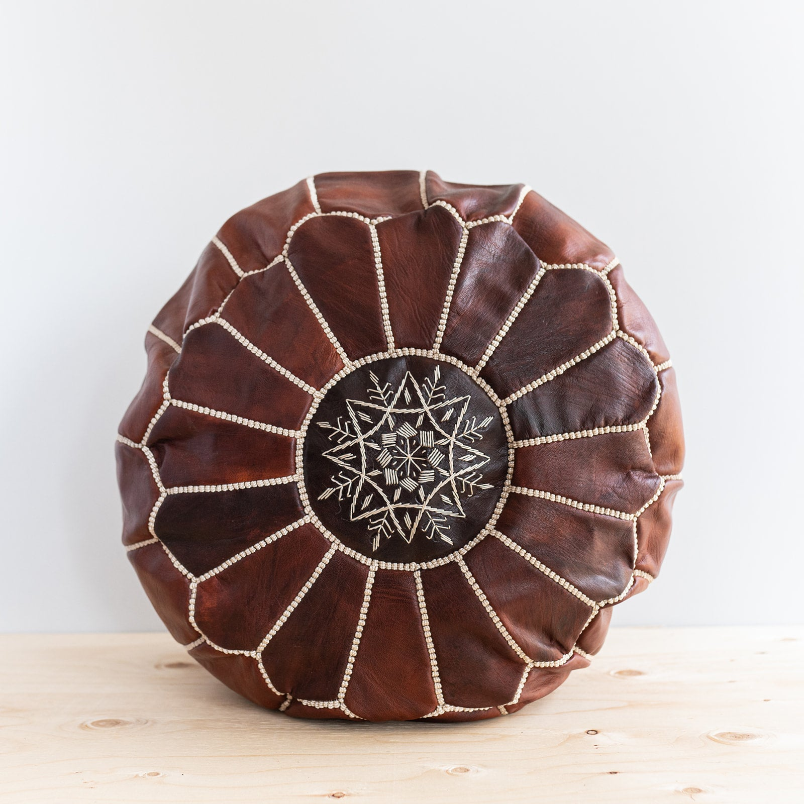 Dark Brown Moroccan Leather Pouf - Rug & Weave