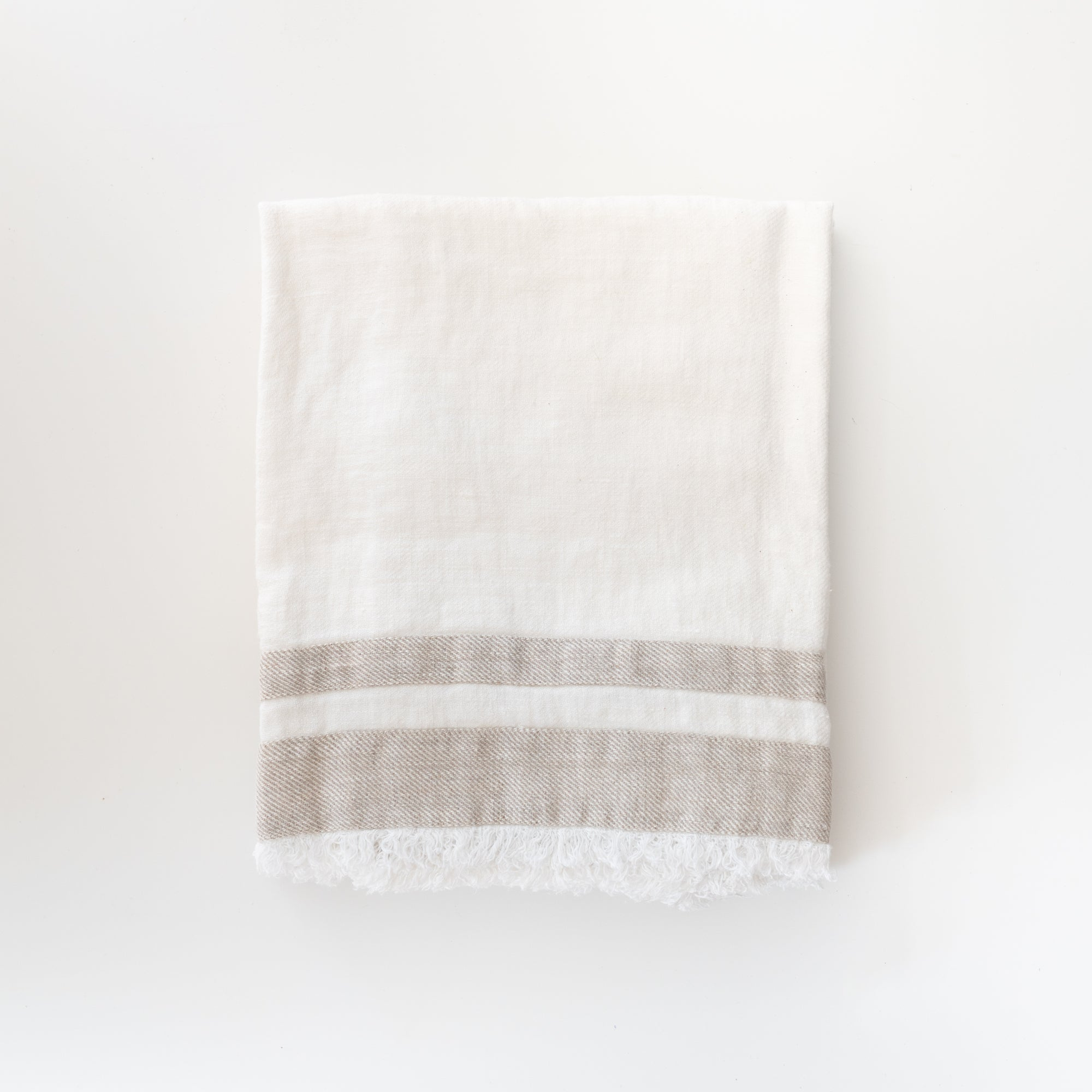 Striped Linen Towel - White - Rug & Weave