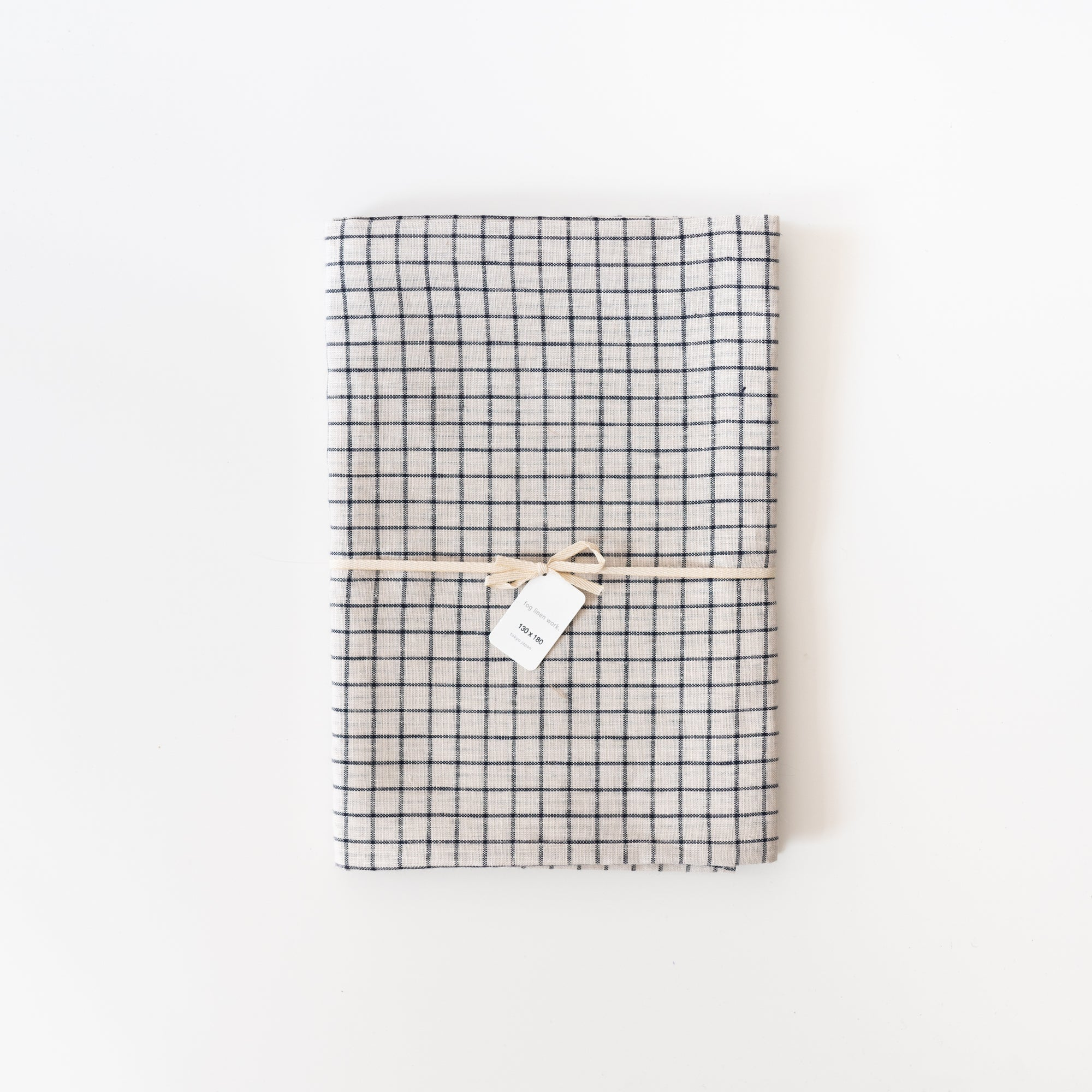 French Check Linen Table Cloth - Rug & Weave