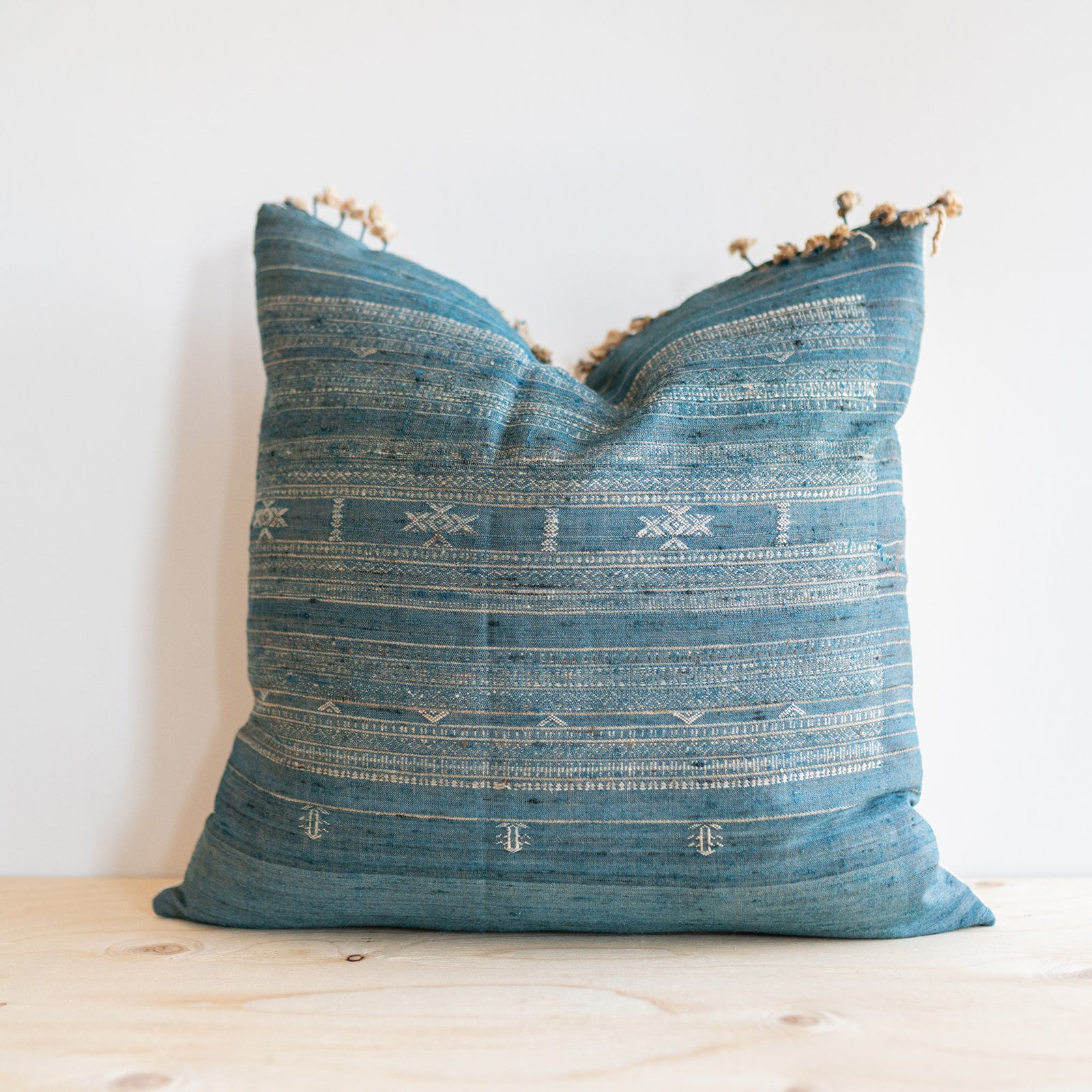 Deep Sea Fringe Tussar Pillow