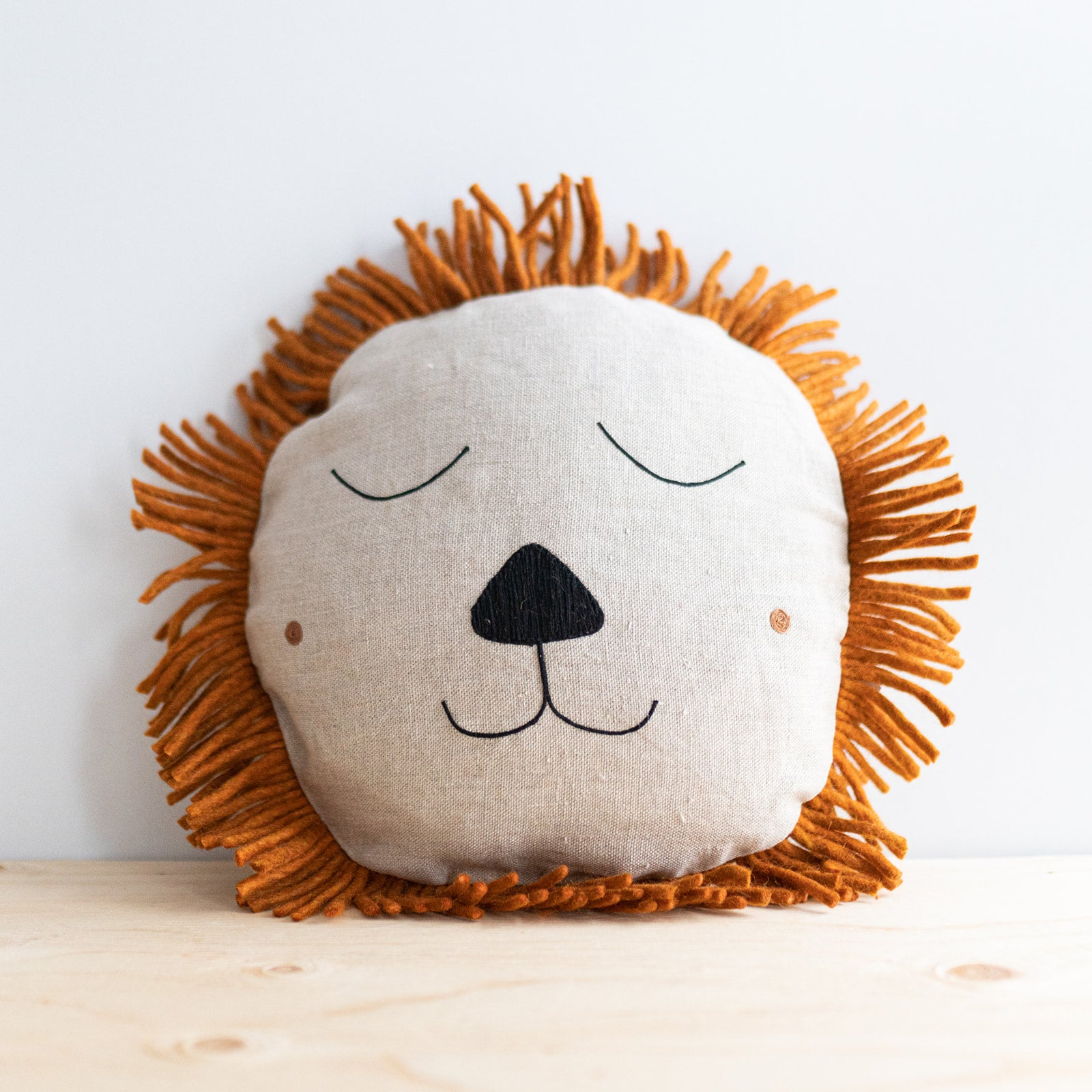 Natural Linen Lion Cushion - Rug & Weave