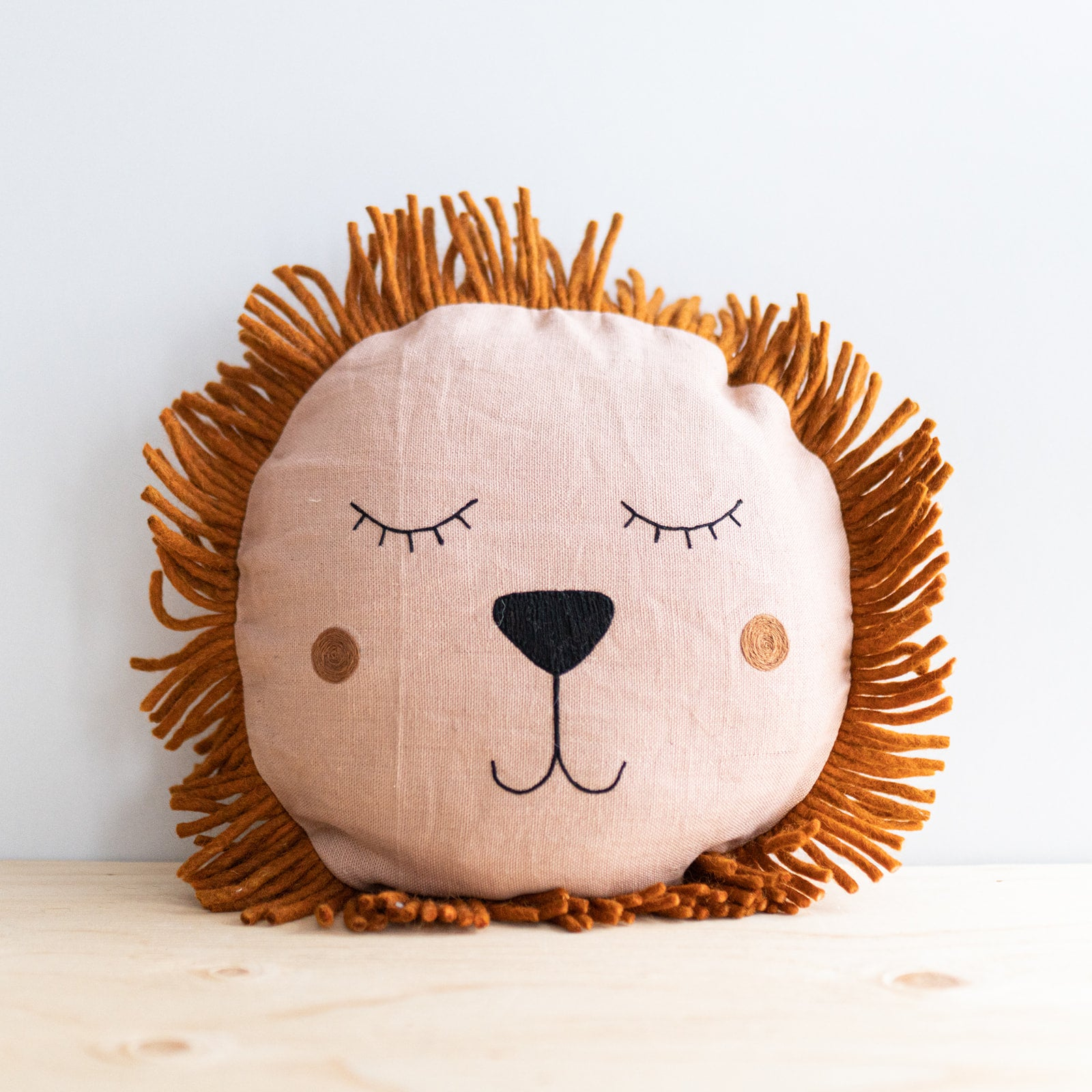 Rose Linen Lion Cushion - Rug & Weave