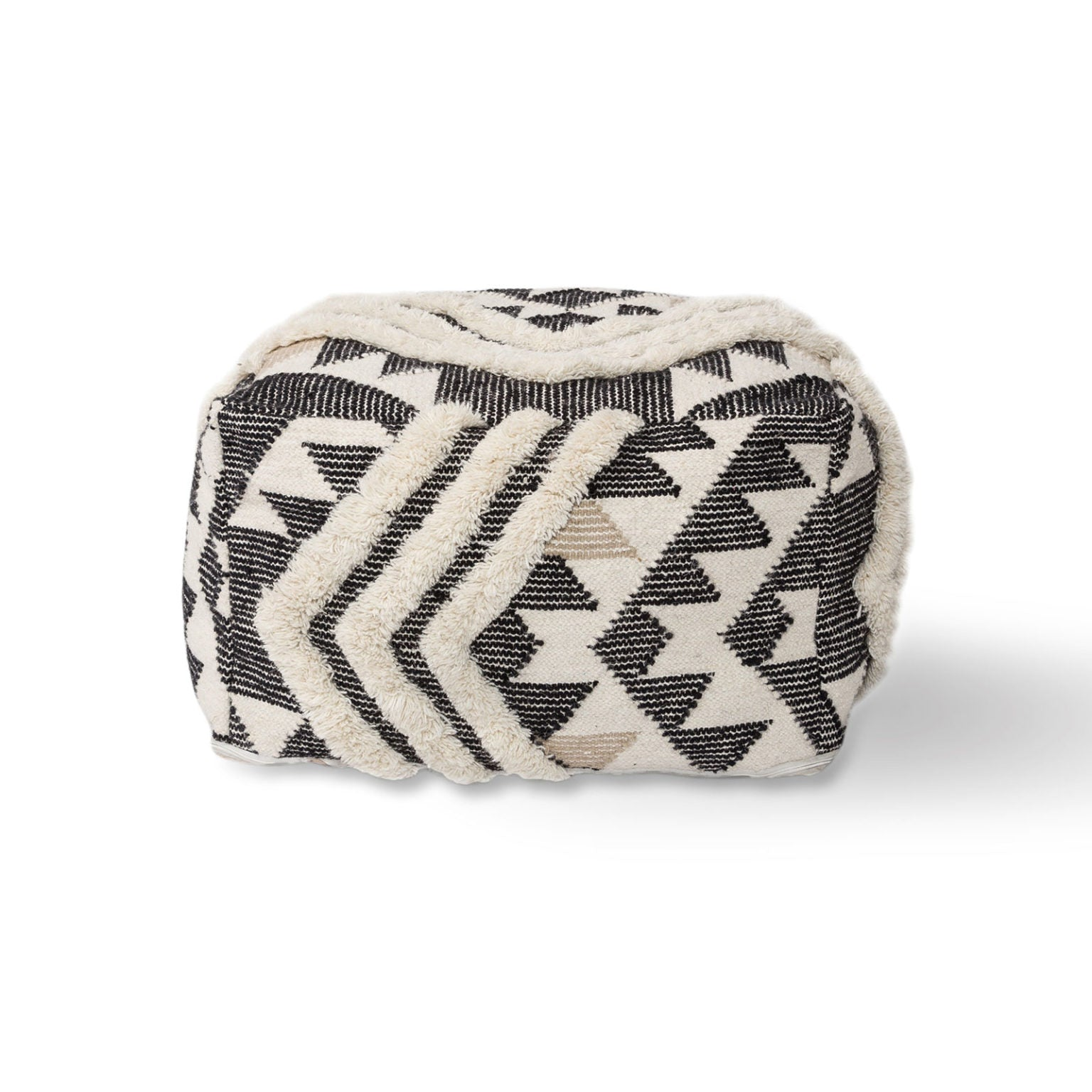 Cream Chevron Pouf