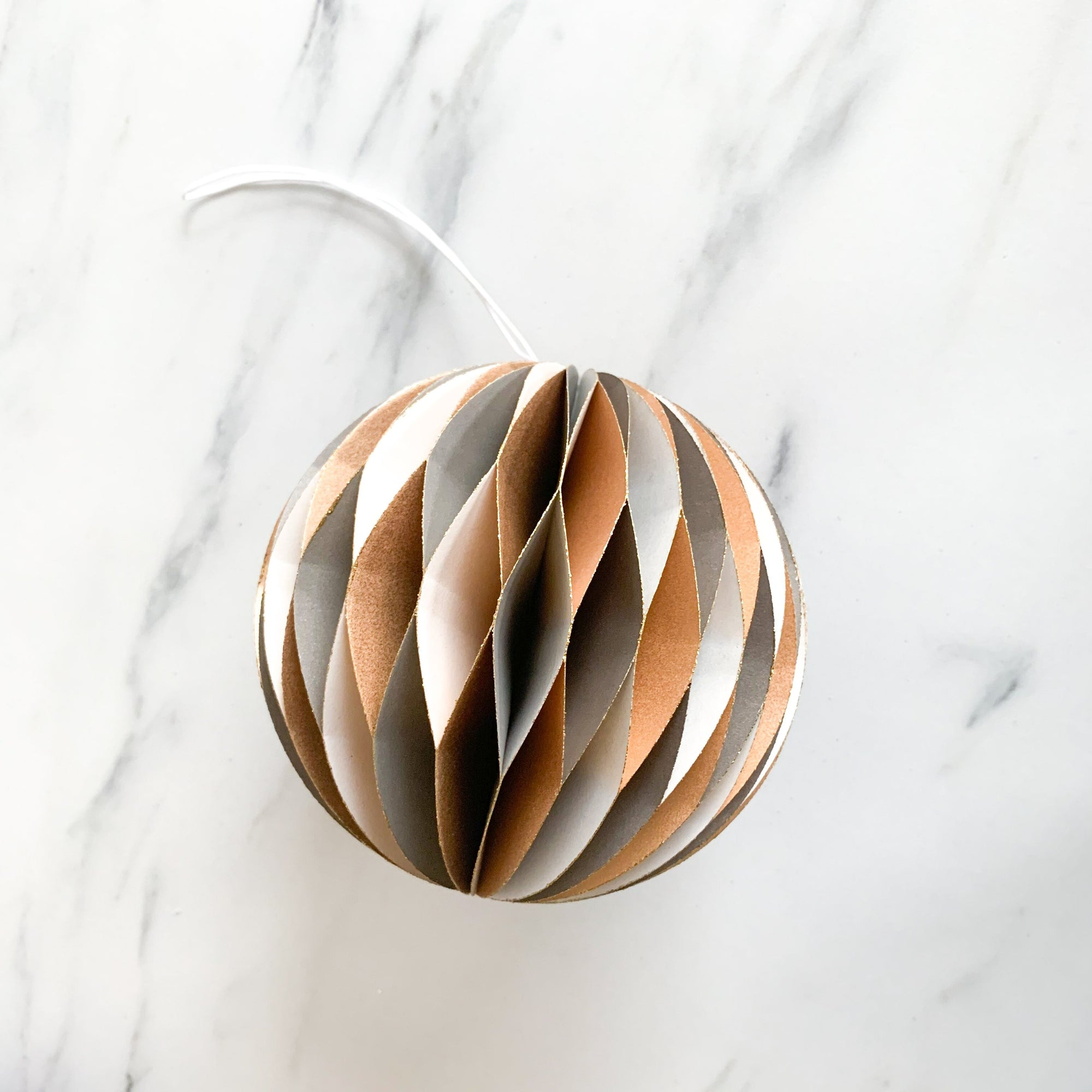 Gold & White Accordion Paper Ornament