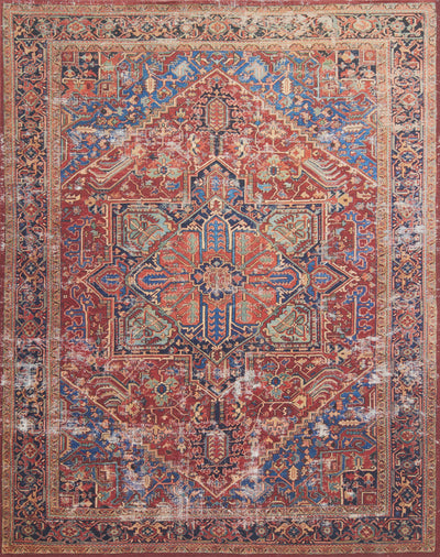 Loloi Lucca Red / Blue Rug - Rug & Weave