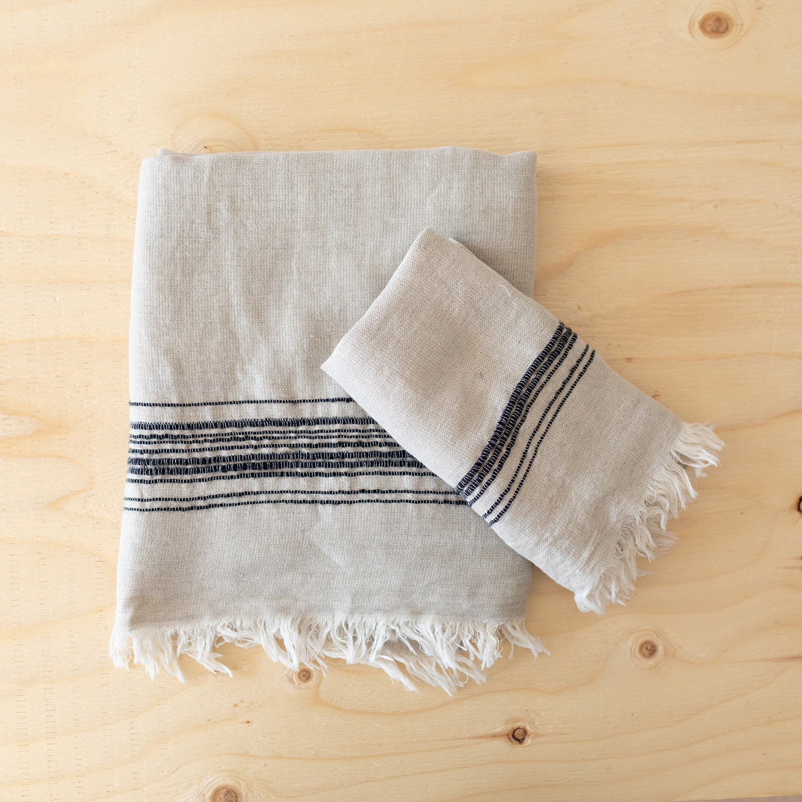 Charcoal Linen & Cotton Towels